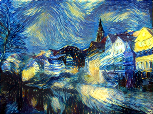 Neural network rendered painting in the style of *Starry Night* with the content from Neckarfront houses. Photo credit: github.com slash jcjohnson
